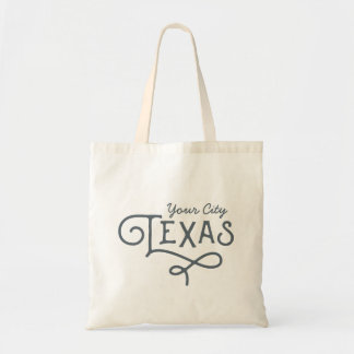 Texas State Customizable City Tote Bag
