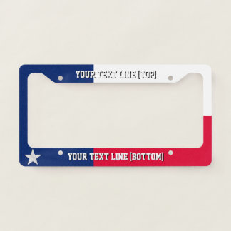 Texas State Flag Design on a Personalized License Plate Frame