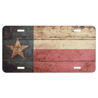 Texas State Flag on Old Wood Grain 1 License Plate
