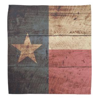Texas State Flag on Old Wood Grain Bandana
