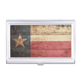 Texas State Flag on Old Wood Grain Business Card Case