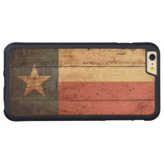Texas State Flag on Old Wood Grain Carved Maple iPhone 6 Plus Bumper Case
