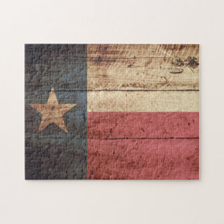 Texas State Flag on Old Wood Grain Jigsaw Puzzle