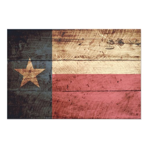 Texas State Flag on Old Wood Grain Photo