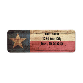 Texas State Flag on Old Wood Grain Return Address Label