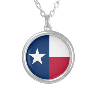 Texas State Flag Silver Plated Necklace