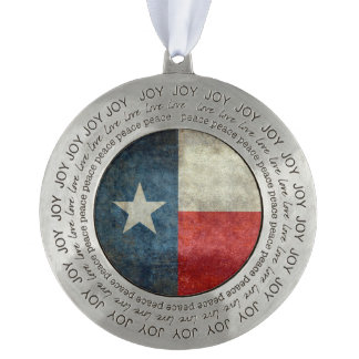 Texas state flag vintage retro Pewter Ornaments Round Pewter Ornament
