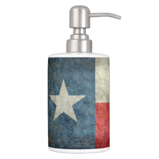 Texas state flag vintage retro style bath accessory set