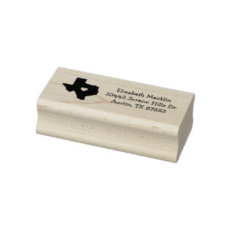 Texas State Icon Custom Address Rubber Art Stamp