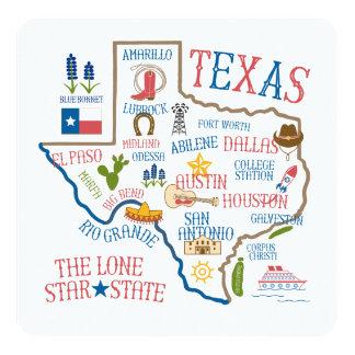 Texas State Landmarks Illustration Invitation