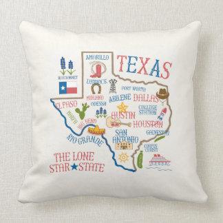 Texas State Landmarks Illustration Pillow - Cream