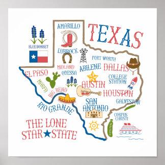 Texas State Landmarks Illustration Poster