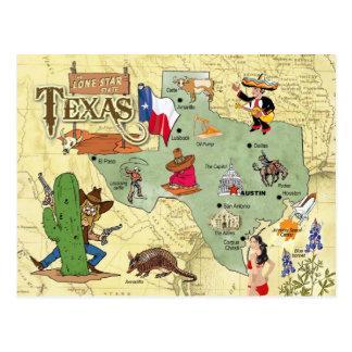 Texas State Map Postcard