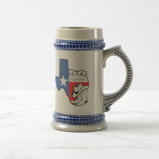 Texas State Map with Star Boots Hat Ceramic Stein