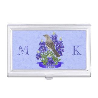 Texas State Mockingbird & Bluebonnet Flower Business Card Holder