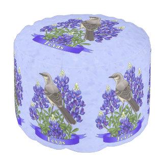 Texas State Mockingbird & Bluebonnet Flower Pouf