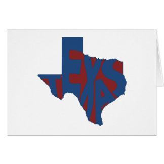 Texas State Name Word Art Blue Note Card