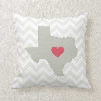 Texas State Neutral Chevron Heart Pillow