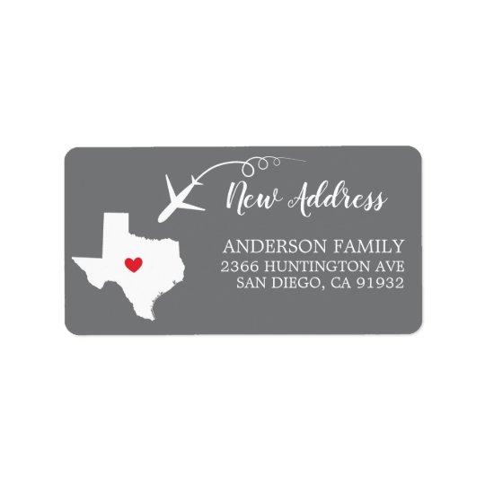 Texas State   New Home Return Address Label