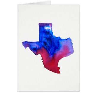 Texas State Outline Watercolor Card