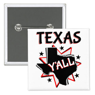 Texas State Pride Y'all 2 Inch Square Button