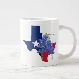 Texas State Shape Flag and Bluebonnets Jumbo Mug