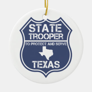 Texas State Trooper To Protect And Serve Ceramic Ornament