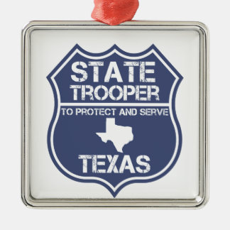 Texas State Trooper To Protect And Serve Metal Ornament