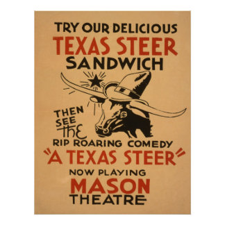 Texas Steer Theatre Vintage Poster