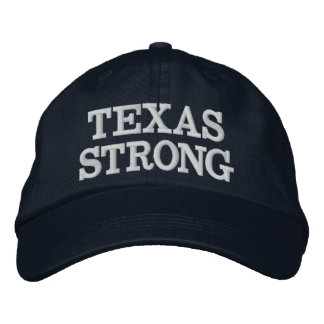 Texas Strong Navy Blue White Custom Text or Color Embroidered Hat