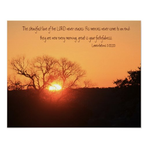 Texas Sunrise, Scripture Quote from Lamentations Poster