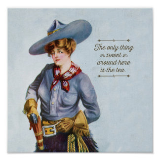 Texas Sweet Tea Vintage Cowgirl Art Poster