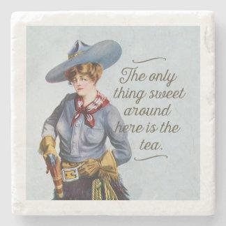 Texas Sweet Tea Vintage Cowgirl Art Stone Coaster