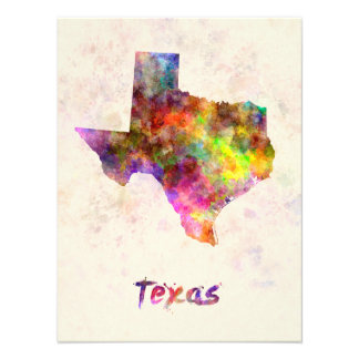 Texas U.S. state in watercolor Photographic Print