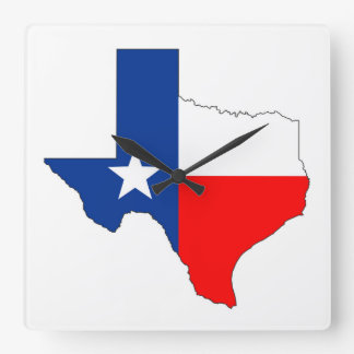 texas united states america map flag label shape square wall clock