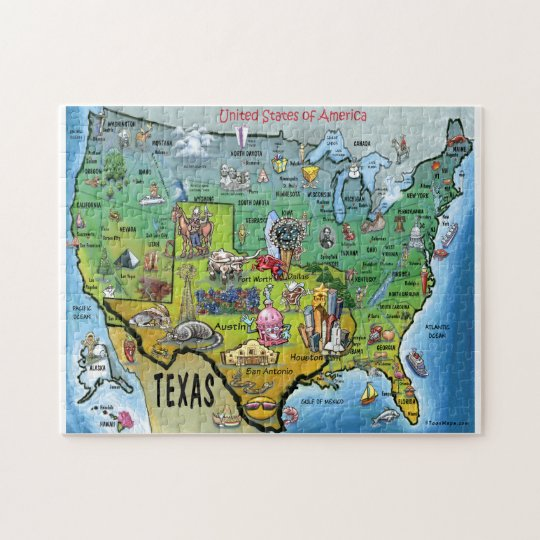 Texas USA Cartoon Map Jigsaw Puzzle