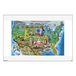 Texas USA Fun Maps Wall Sticker