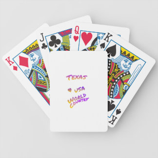 Texas USA world country, colorful text art Poker Deck