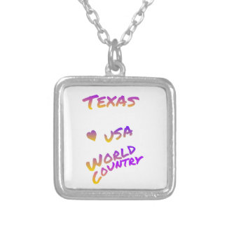 Texas USA world country, colorful text art Silver Plated Necklace