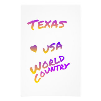 Texas USA world country, colorful text art Stationery Paper