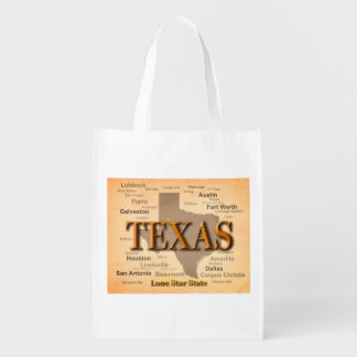 Texas Vintage Map Grocery Bags