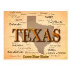 Texas Vintage Map Postcard