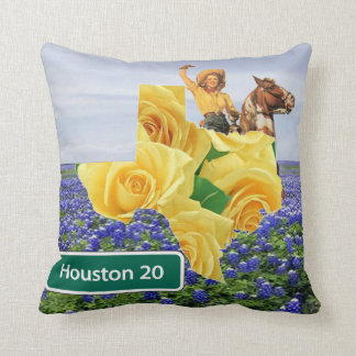 Texas Yellow Rose And Bluebonnets Cowgirl Houston Throw Pillow