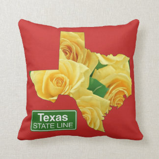 Texas Yellow Roses And State Line Sign ANY COLOR Throw Pillow