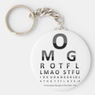 Text Addict's Eye Chart Keychain