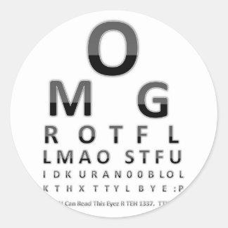 Text Addict's Eye Chart Round Sticker