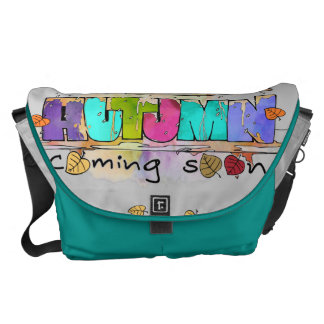 Text and autumnal illustration messenger bags