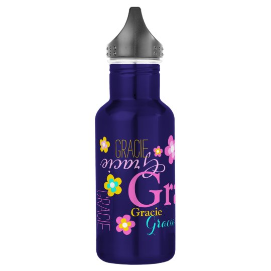 Text and flowers girls name Gracie water bottle