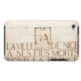 Text carved on a wall, Monument Aux Morts, Cote iPod Touch Cover
