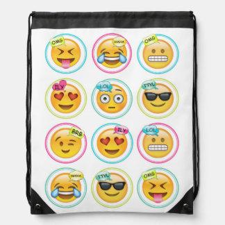 Text Emoji Drawstring Bag Backpack